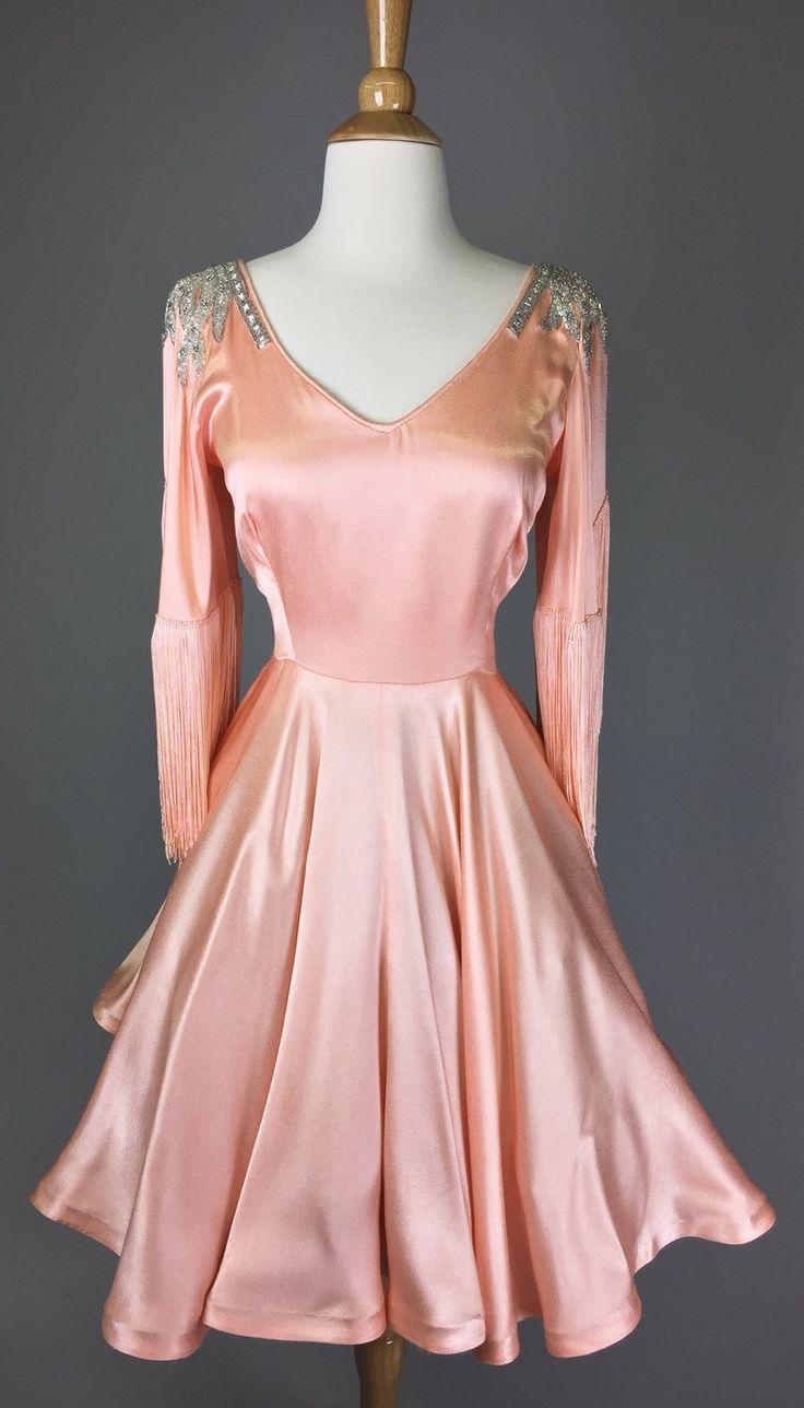 The Dolly Parton - 60s Peach Costume Dress w/ Fringe & Beading ...