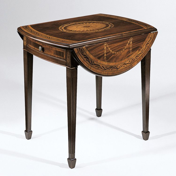Decorative crafts inlaid wood dropleaf small table 1558