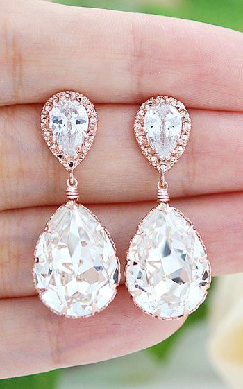 Rose Gold plated Clear White Swarovski Crystal Tear Drops Bridesmaid