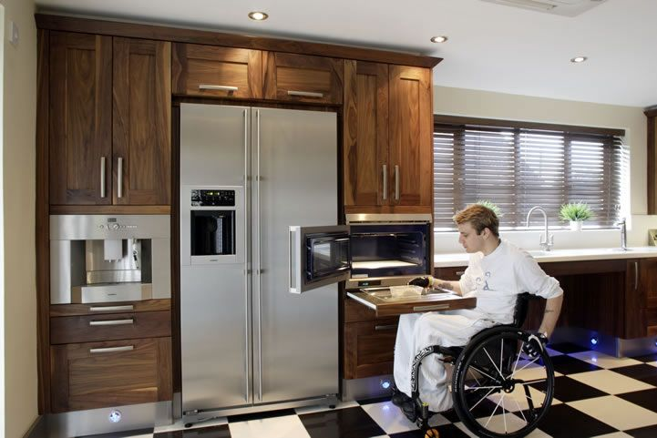 Walnut And Corian Kitchen, Tall Units With Easy Access To Appliances For  The Disabled.