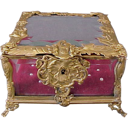 Antique French Dore Bronze Beveled Glass Jewellery Box with