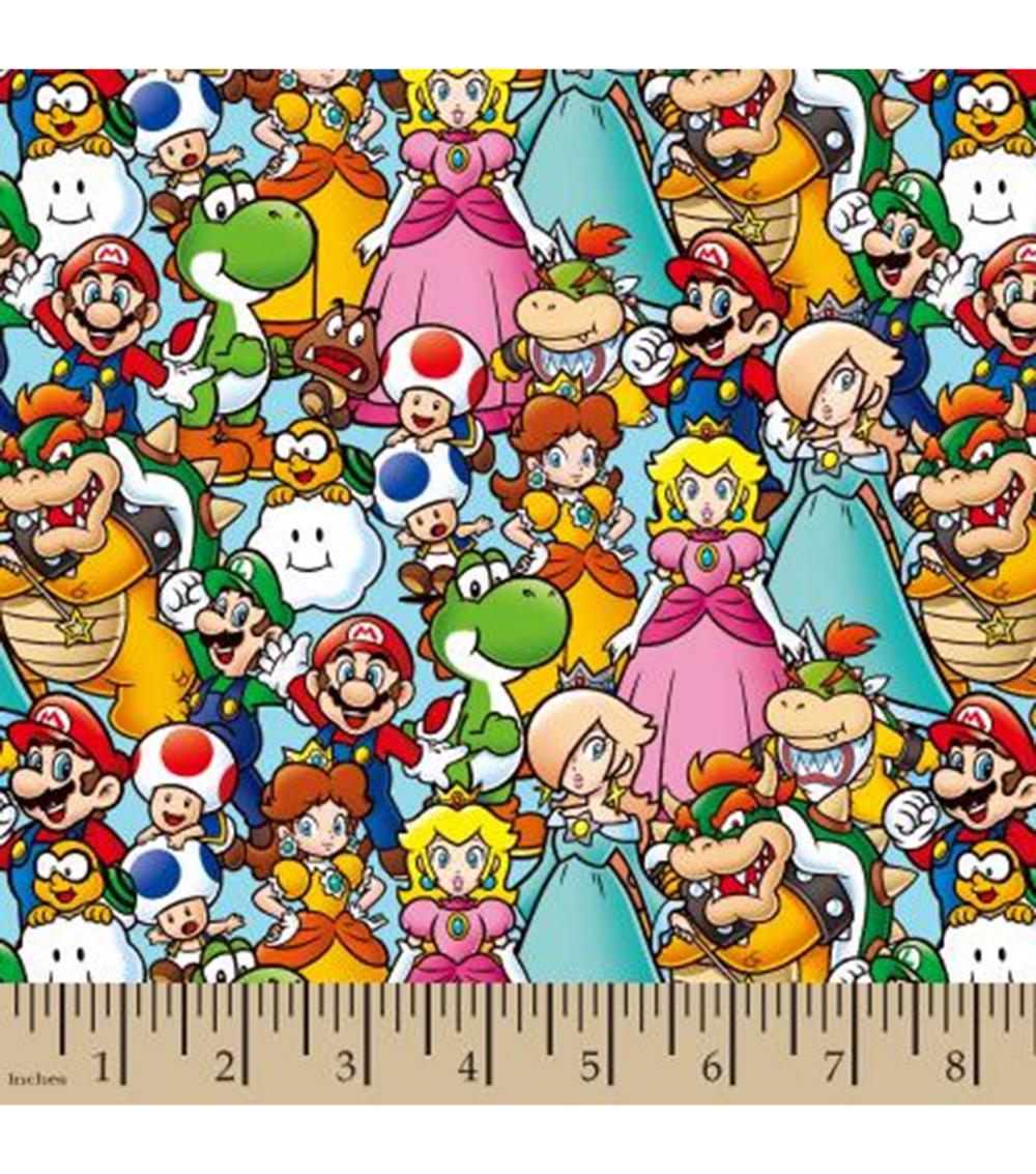 Mario Cotton Fabric Mario And Friends Digital Joann Mario Fabric Welding Caps