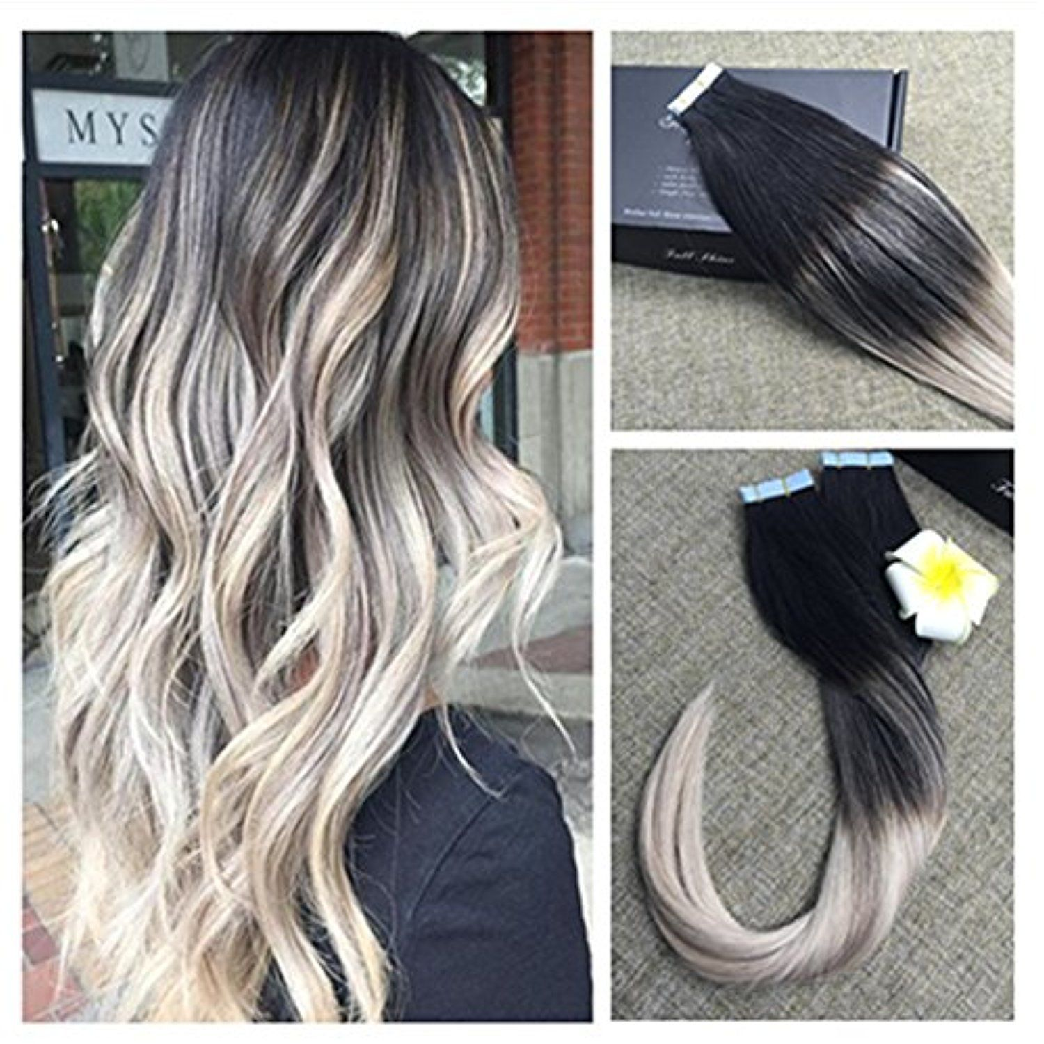 Full Shine 22 Inch Human Hair Tape Ombre Extensions 20 Pcs 50gram