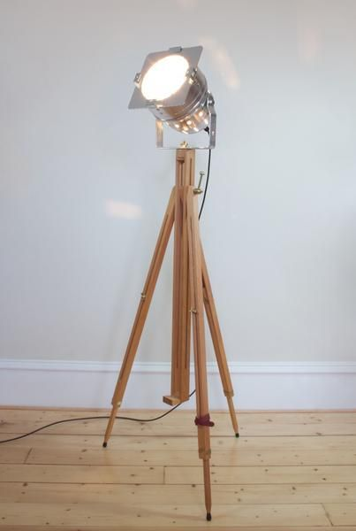 Vintage retro theatre spot light tripod floor lamp chrome tripod polished aluminium theatre lamp with solid beechwood tripod free uk delivery aloadofball Gallery