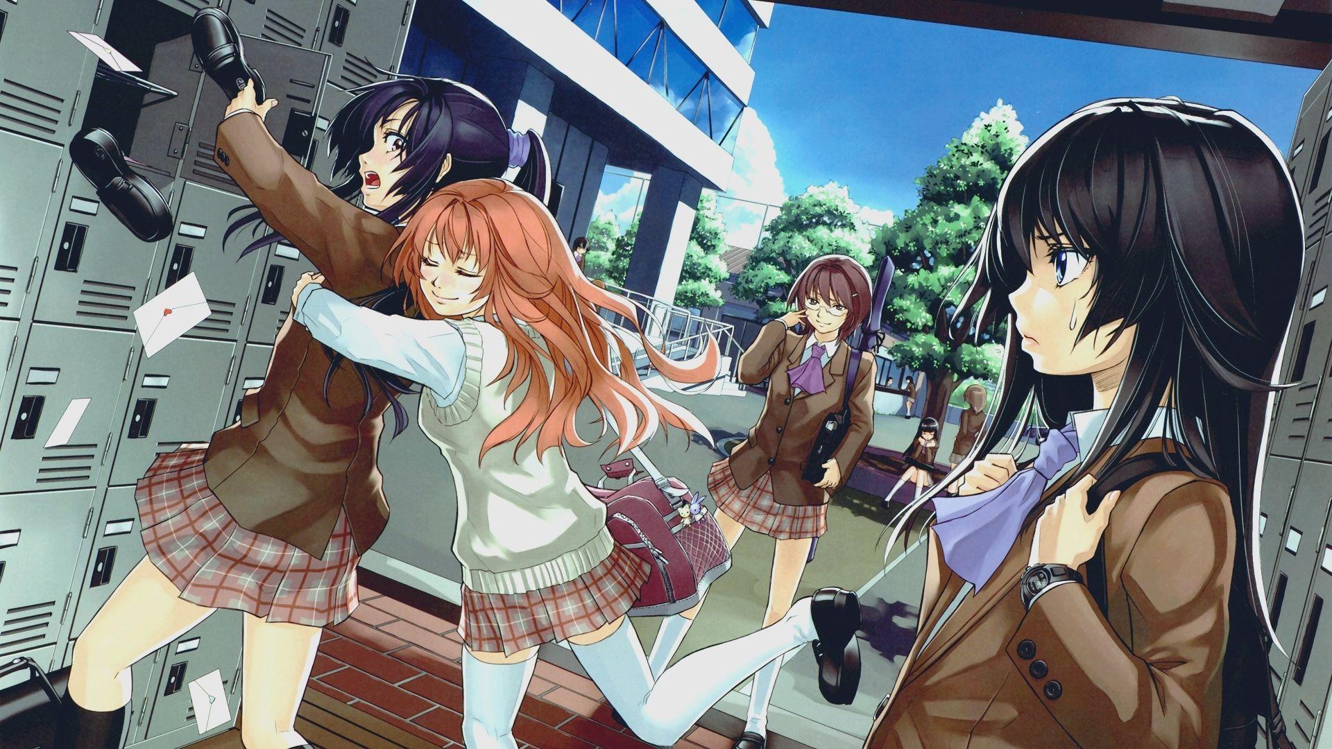 Anime School Girls Widescreen Wallpaper Wide Wallpapers Net