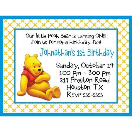 Pooh Bear Birthday InvitationWinnie the Pooh Cant spell party