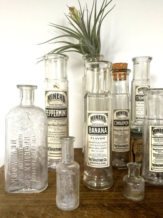 Vintage set 10 apothecary bottles by Brimfieldfinds on Etsy