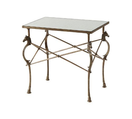 Merveilleux Theo Alexander Mirrored Julia Table (Horse Detail!!!)