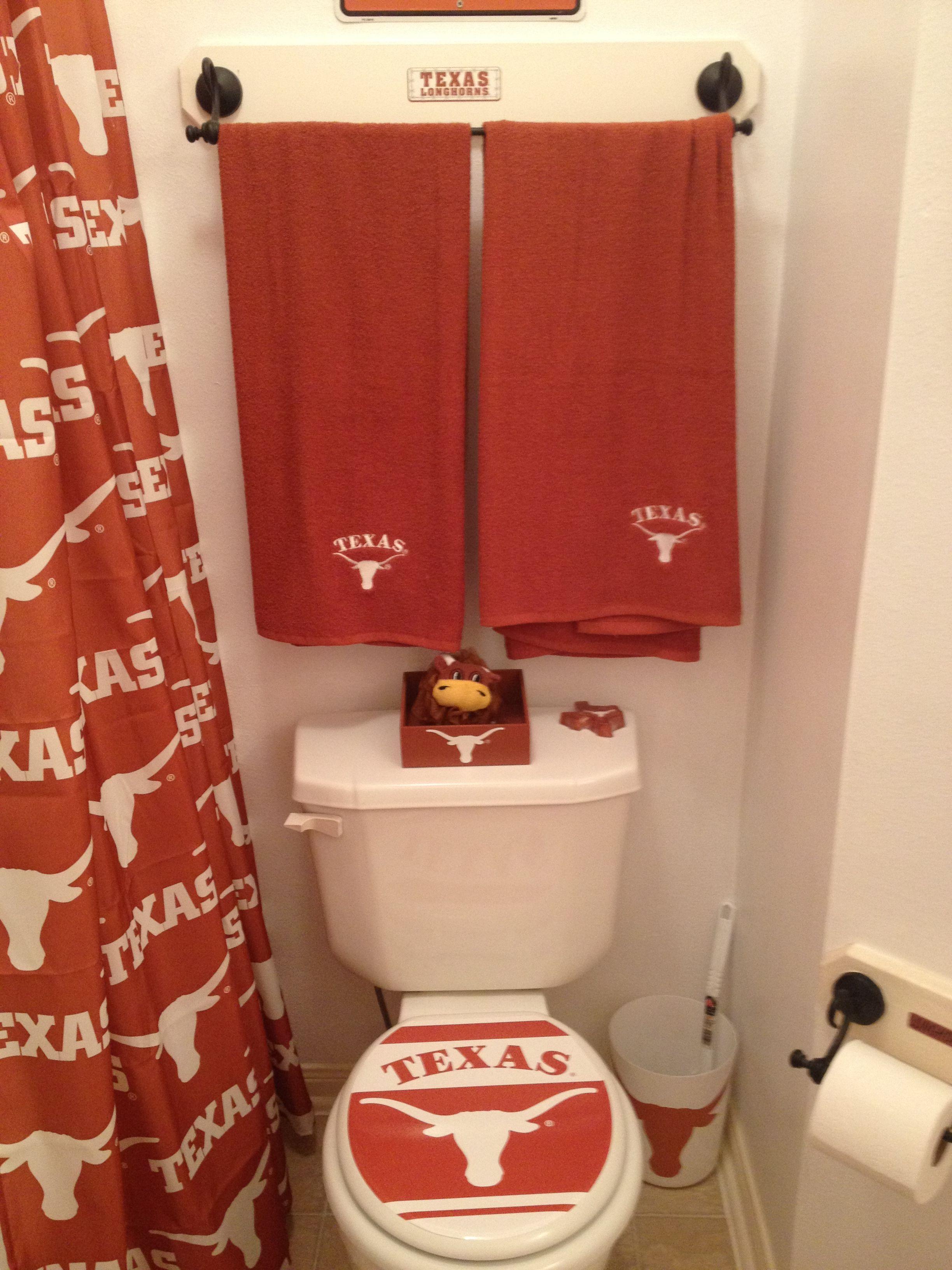 Brad S Bathroom My V Day Gift To Him Bathroom Longhorn Brads Texas longhorn bathroom decor