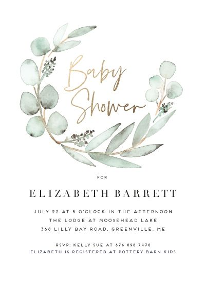 Natural Eucalyptus Inspired Baby Shower Invitation Card Design