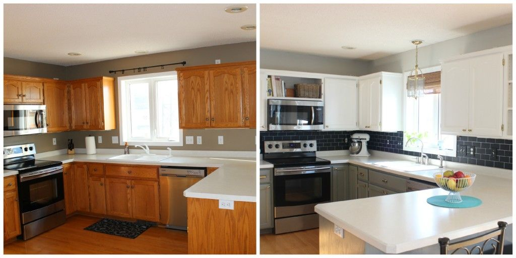 Painted oak cabinets, white and gray kitchen cabinets, chalkboard ...
