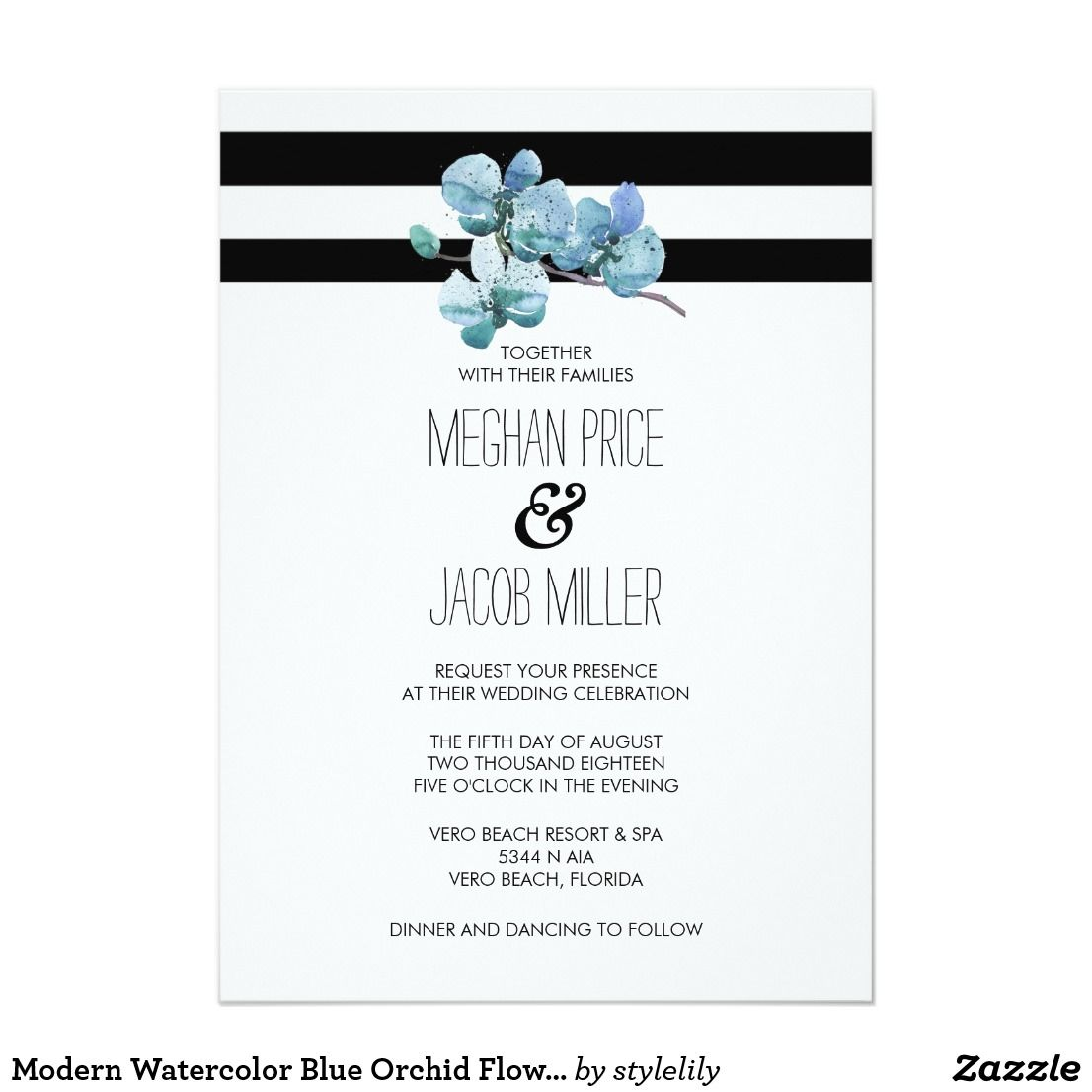 Modern Watercolor Blue Orchid Flower Wedding Card Blue Orchid