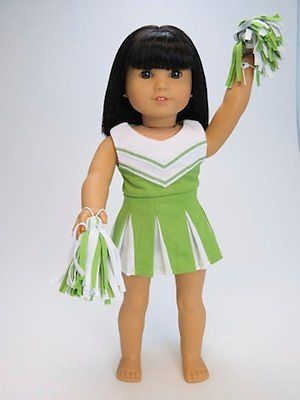Doll-Clothes-Fit-AG-18-034-Cheerleader-Lime-Made-To-Fit-American-Girl-18-Inch-Dolls #18inchcheerleaderclothes