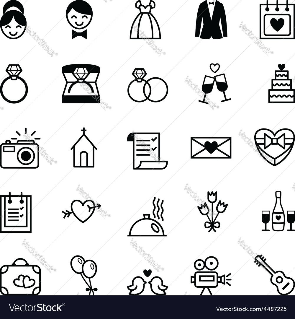 Set Of Twenty Five Black And White Vector Icons Preparation For The
