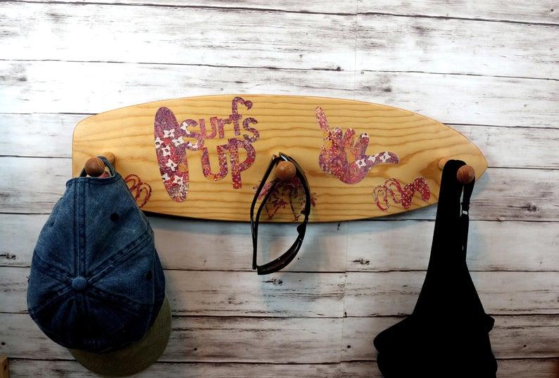 Surfs up, hang loose, clothing rack, towel rack, she shed, he shed, kids room #surfsup