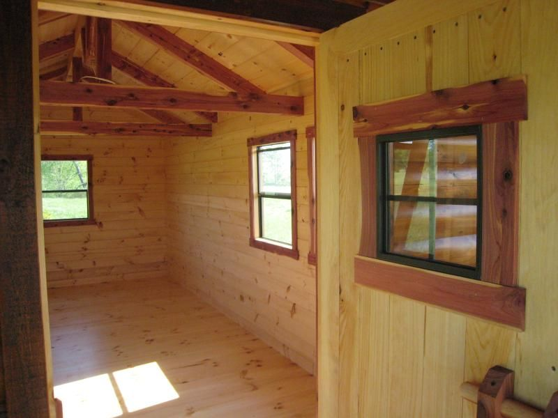 Trophy Amish Cabins Llc 10 X 26 Hunter 260 S F Standard 10 X 22 Interior Plus 4 Porch Loft Stand In 2020 Interior Window Trim Interior Windows Loft Railing