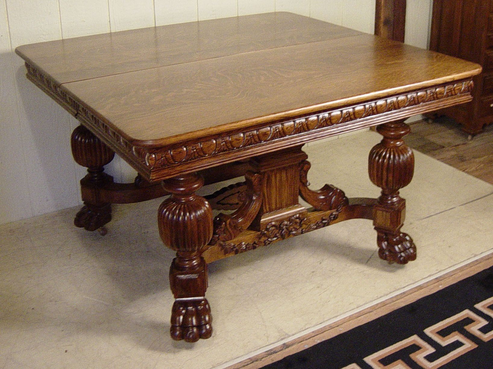 48 Square Oak Dining Table With 4 Leaves Oak Dining Table Antique Oak Furniture Dining Table 48 square dining table