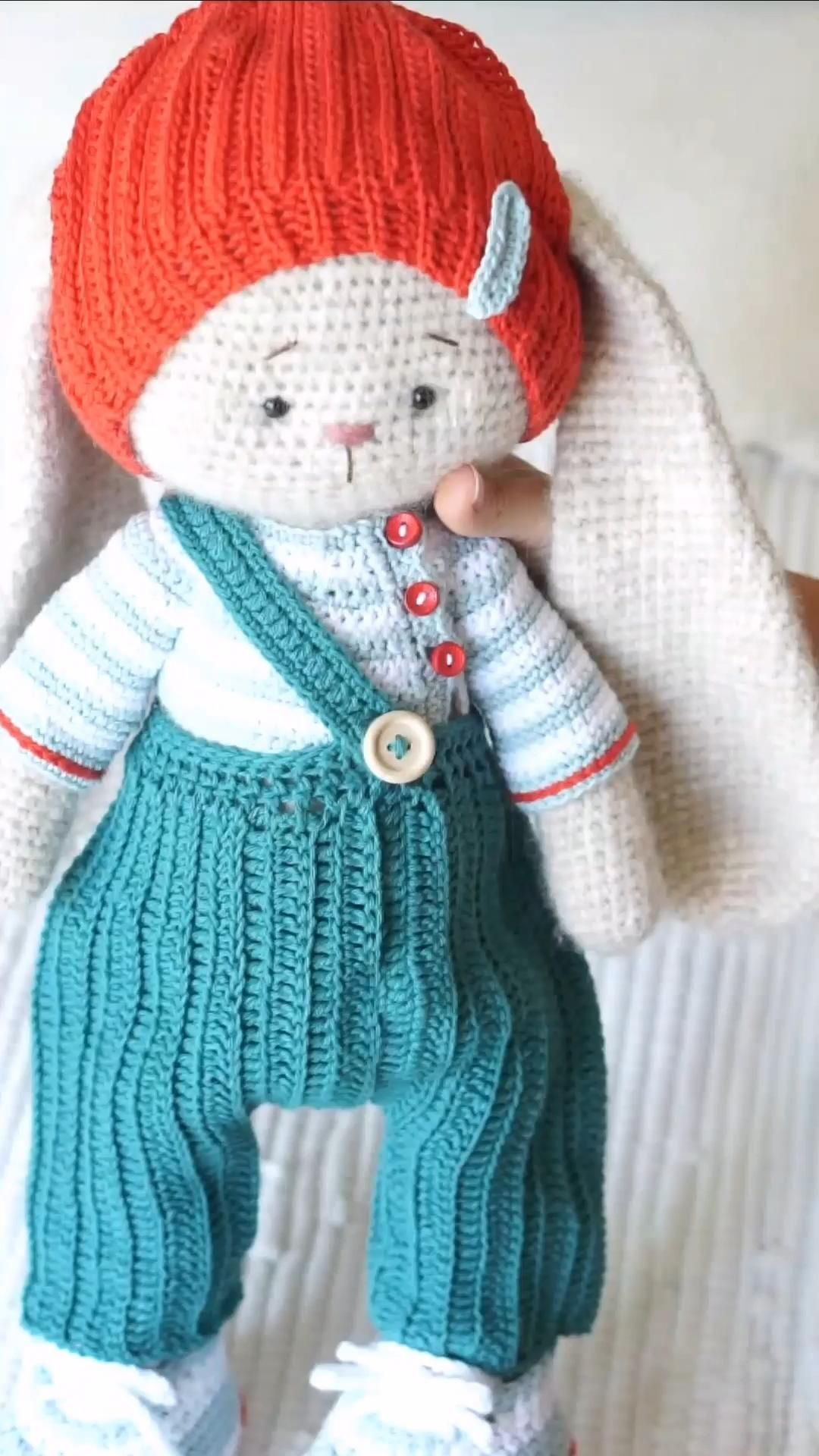 Crochet Doll Clothes Pattern - Outfit Junior #crochet #pattern #doll #clothes #bunny #rabbit #diy