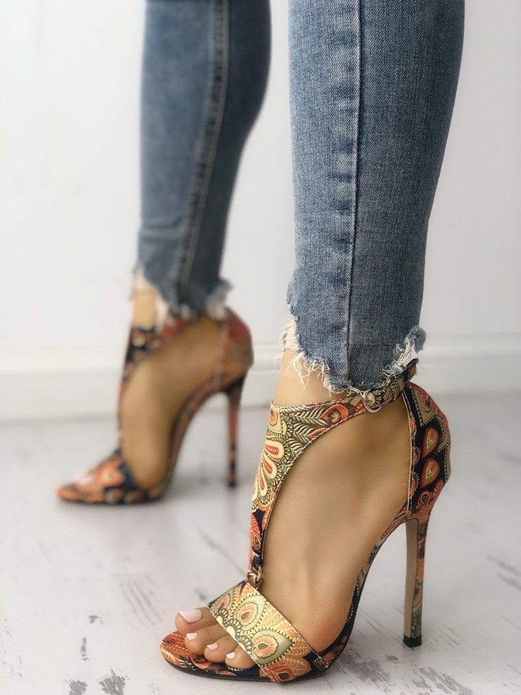 b86dd5e469 Shop Peacock Feather Print T-Strap Thin Heeled Sandals right now, get great  deals at Joyshoetique.
