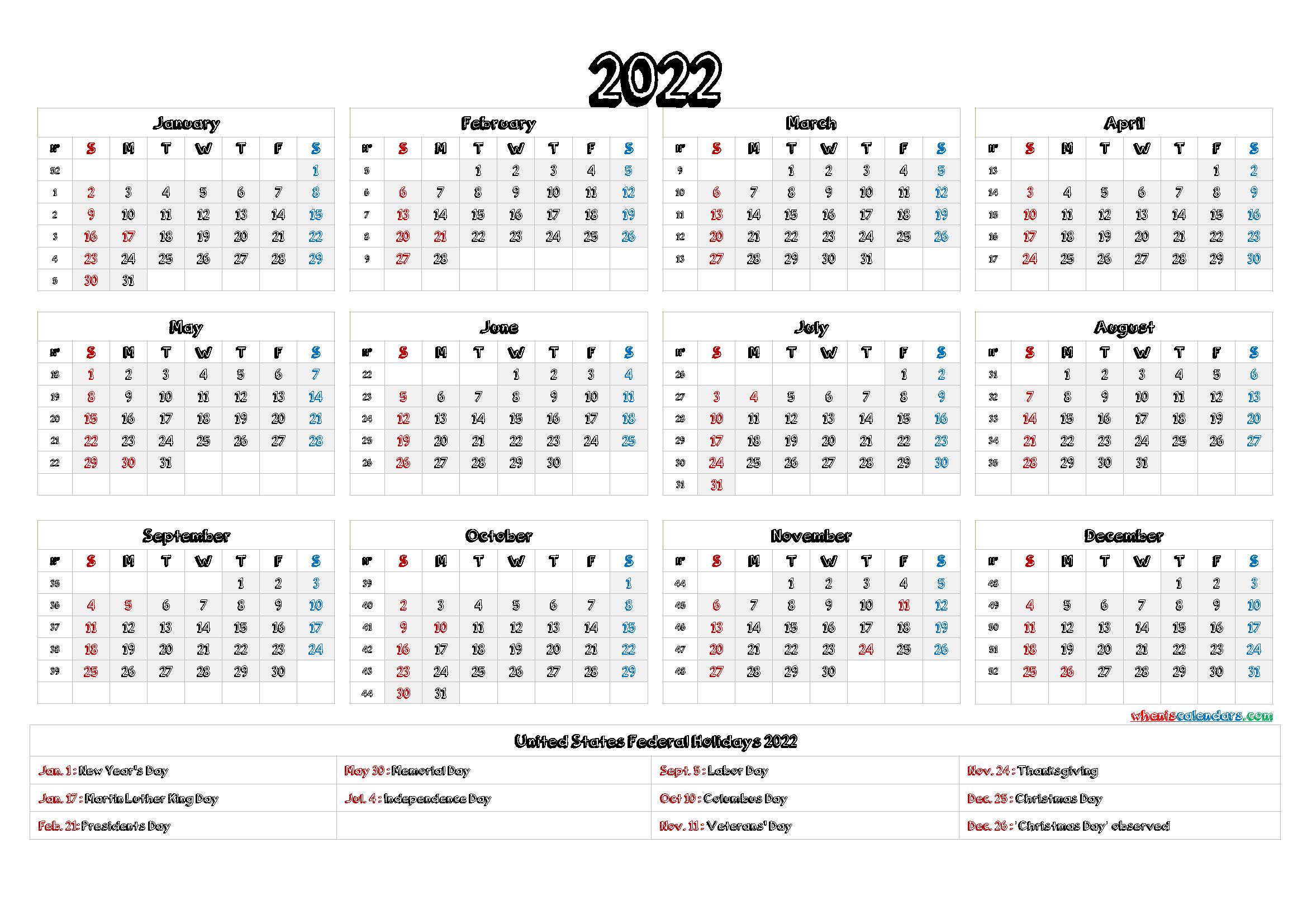 2022 Calendar 1 Page.2022 Calendar With Holidays Printable 6 Templates Calendar Printables Yearly Calendar Template Monthly Calendar Printable