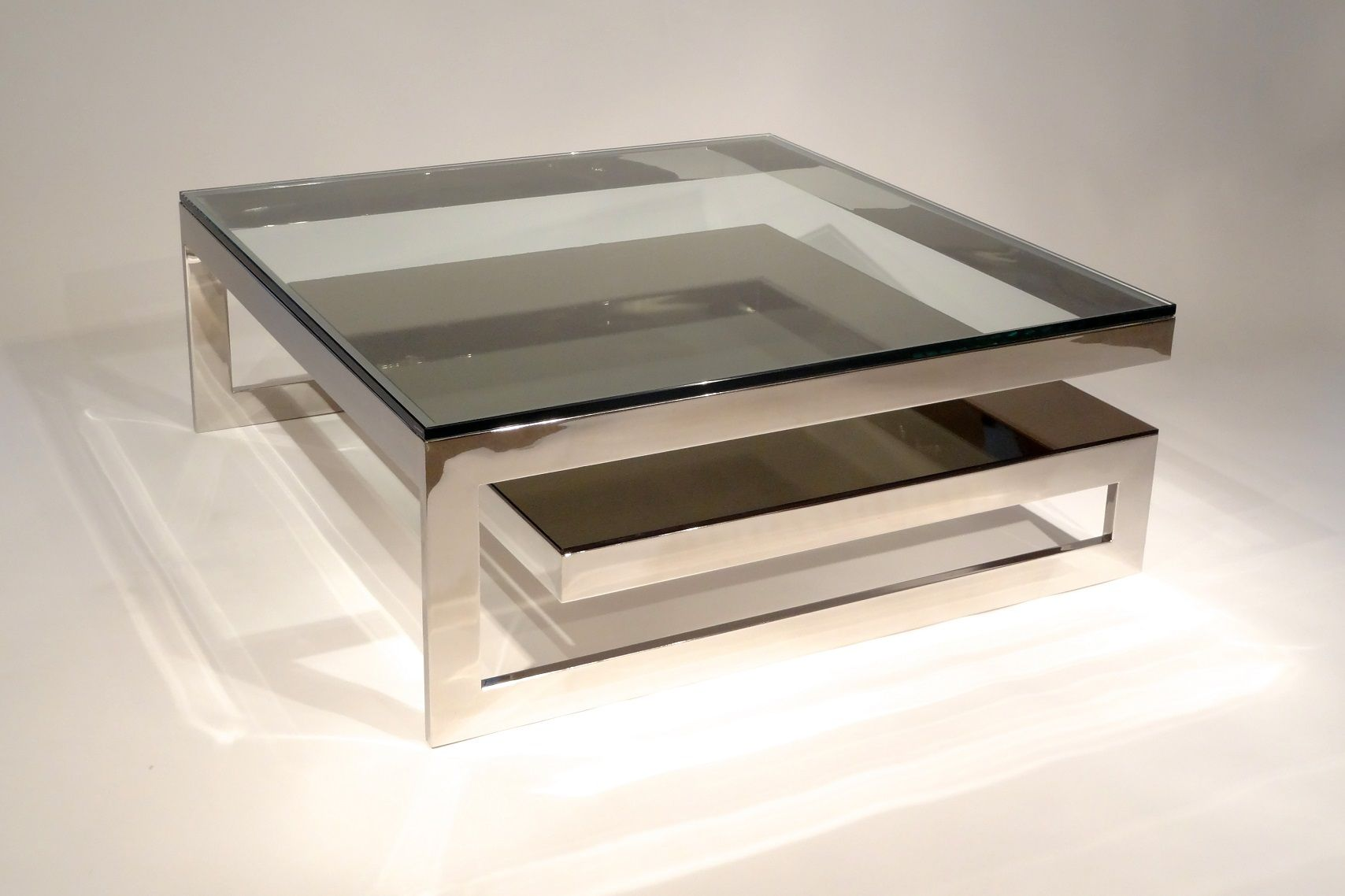 Attractive Glass Coffee Table With Stainless Steel Table Legs For Luxury Living Room Furniture Idea Centros De Mesa Mesas [ 1138 x 1708 Pixel ]