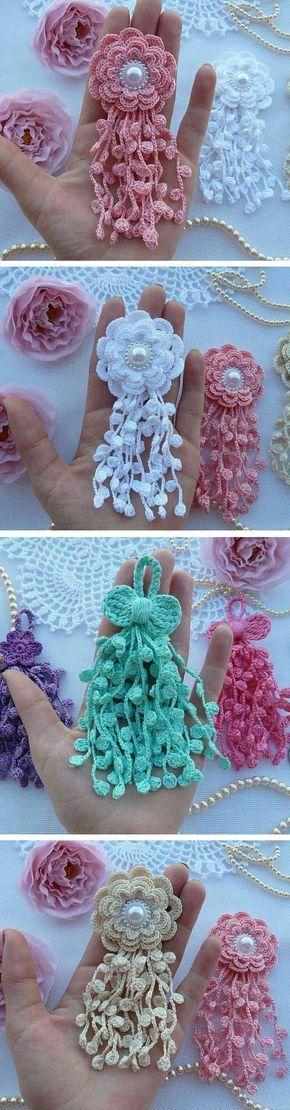 Crochet Flower Ornament by Aprende Con Diana | crochet | Pinterest ...
