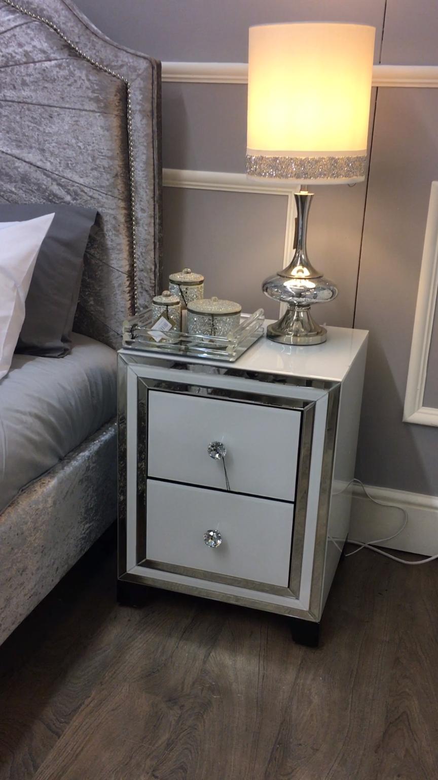 Madison White Glass 2 Drawer Cabinet - Lustrous white glass 2 drawer ...