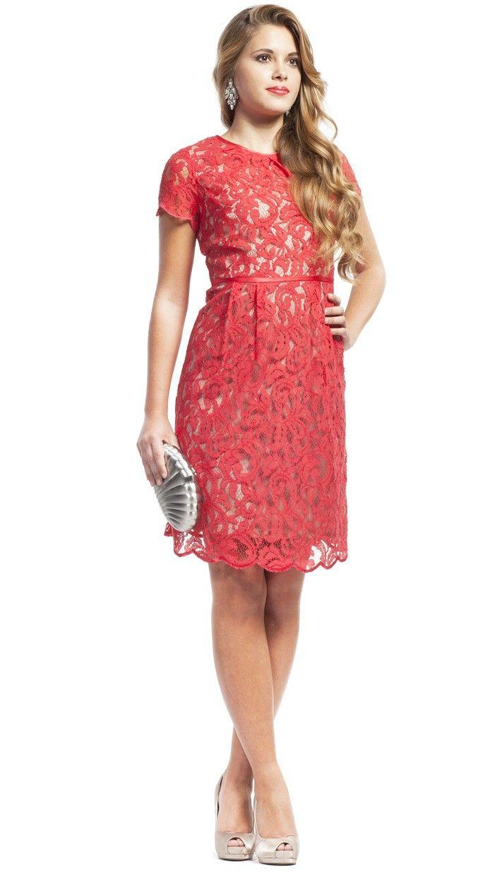 32e77d66c ADRIANNA PAPELL Vestido de fiesta corto de encaje - Red party dress -  Invitadas de boda - wedding - Dresseos