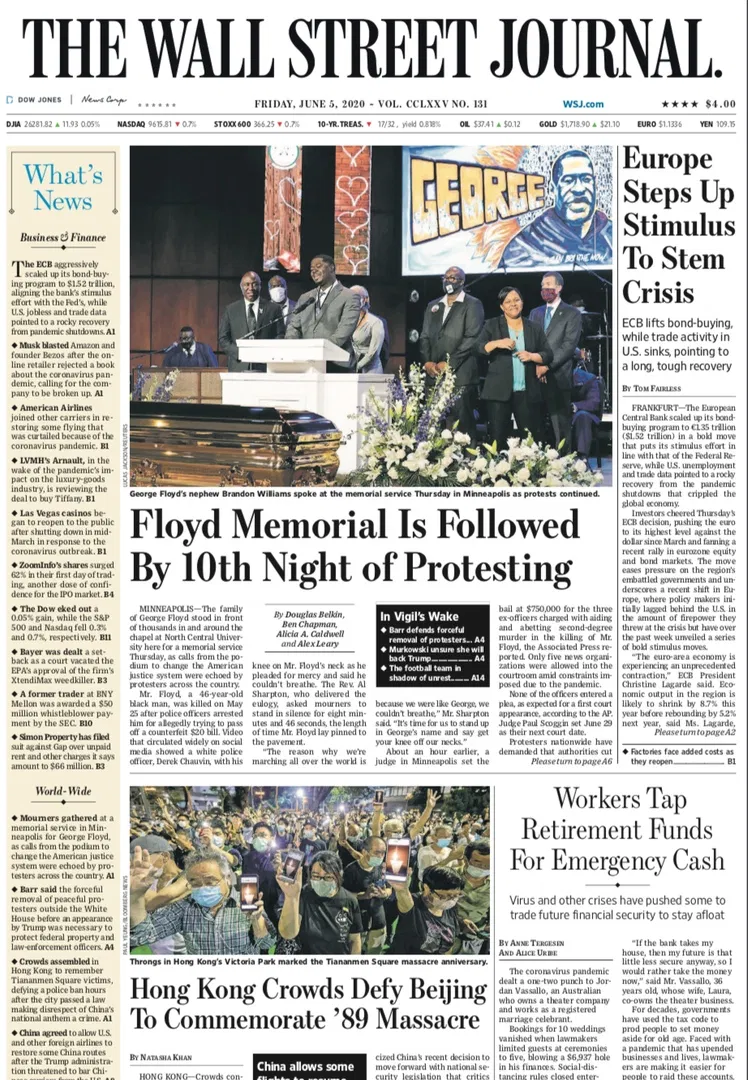 The Wall Street Journal June 5 2020 Free For Book Wall Street Journal Wall Street Journal