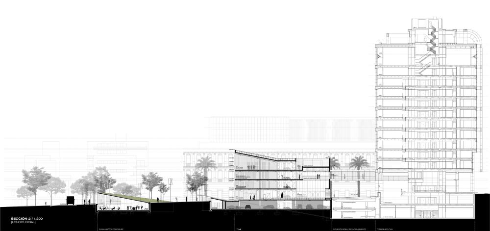 Segundo Lugar Concurso Ampliación de Torre Ejecutiva (TE+A) Corte