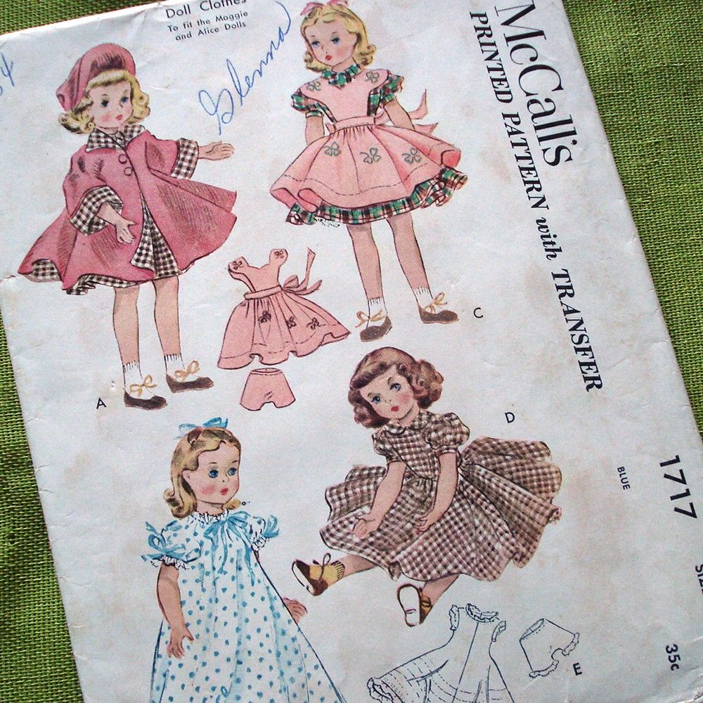 Vintage doll clothes patterns sewing pattern
