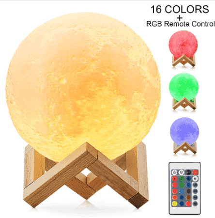 3d Printing Moon Lamp With Touch Switch Remote Control Color Changeable Usb Rechargeable Romantic Night Lights For Led Night Light Moon Light Lamp Night Light