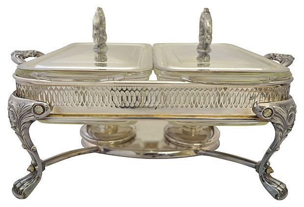 Double Chafing Dish W Burners Silver Serveware Chafing Dishes