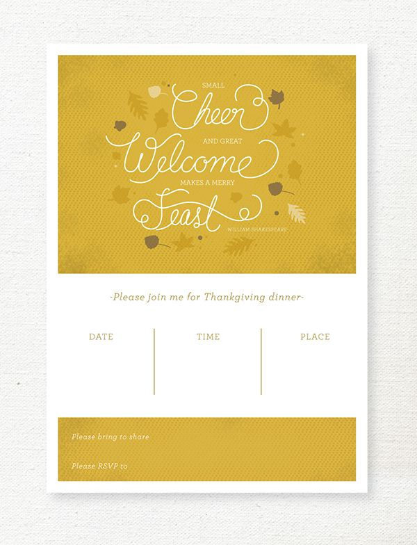 free printable Thanksgiving invitation Thanksgiving Pinterest