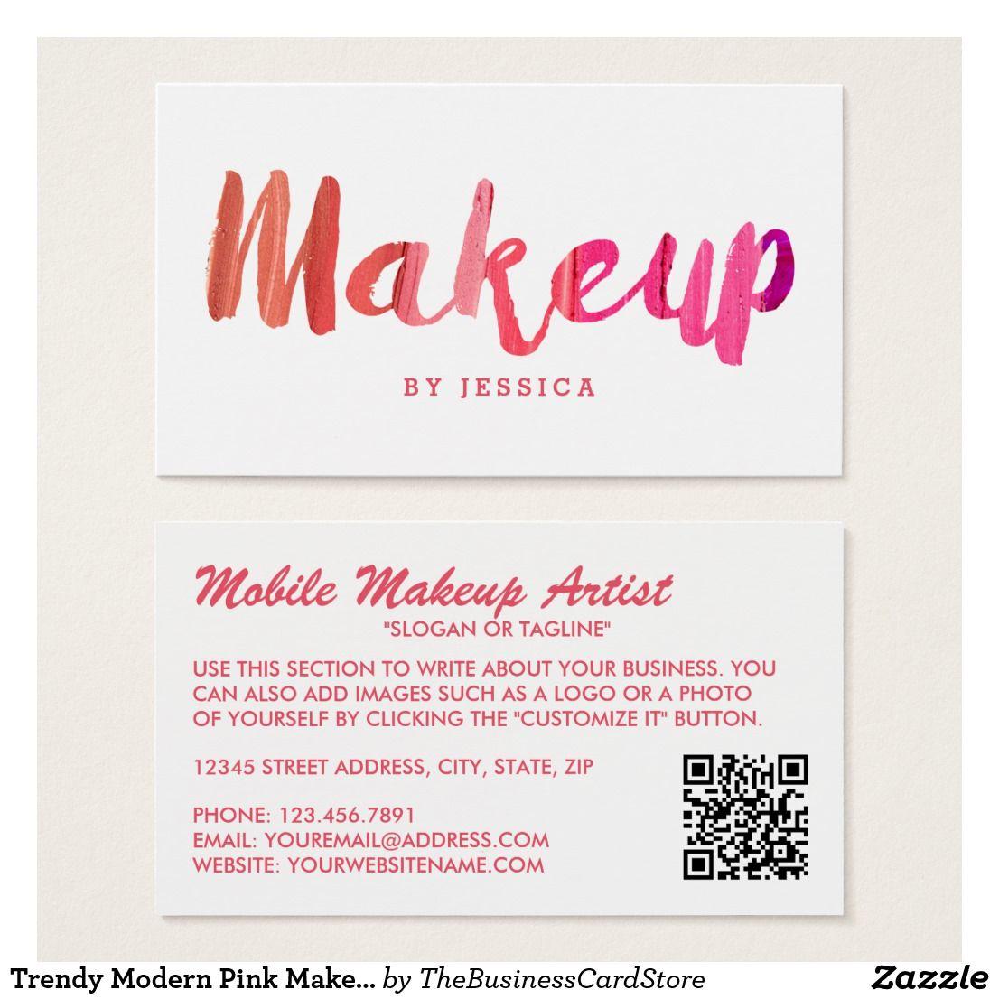 Trendy Modern Pink Makeup Artist Business Card Zazzle