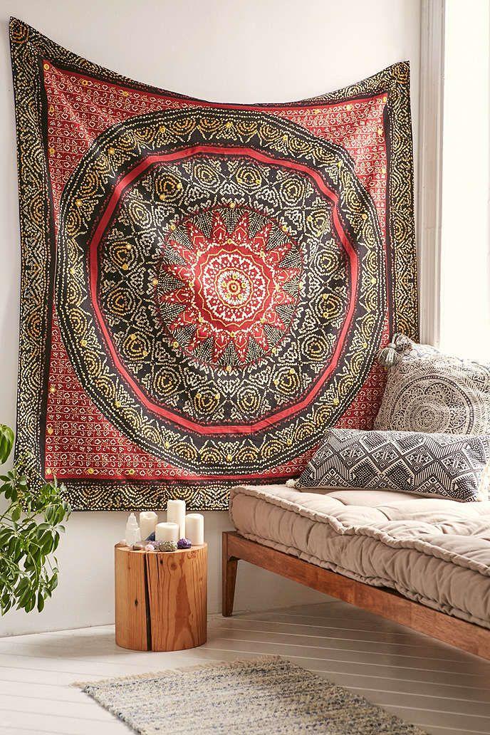 Magical Thinking Bandhani Medallion Tapestry Tapestry Medallion Tapestry Red Home Decor