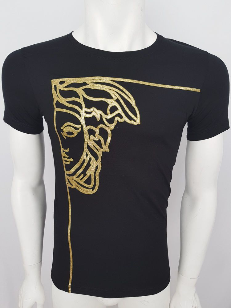 579e6da2e3ab Free Shipping VERSACE Top Brand T-Shirt Gold Top Model 2019 Black  fashion   clothing  shoes  accessories  mensclothing  shirts (ebay link)