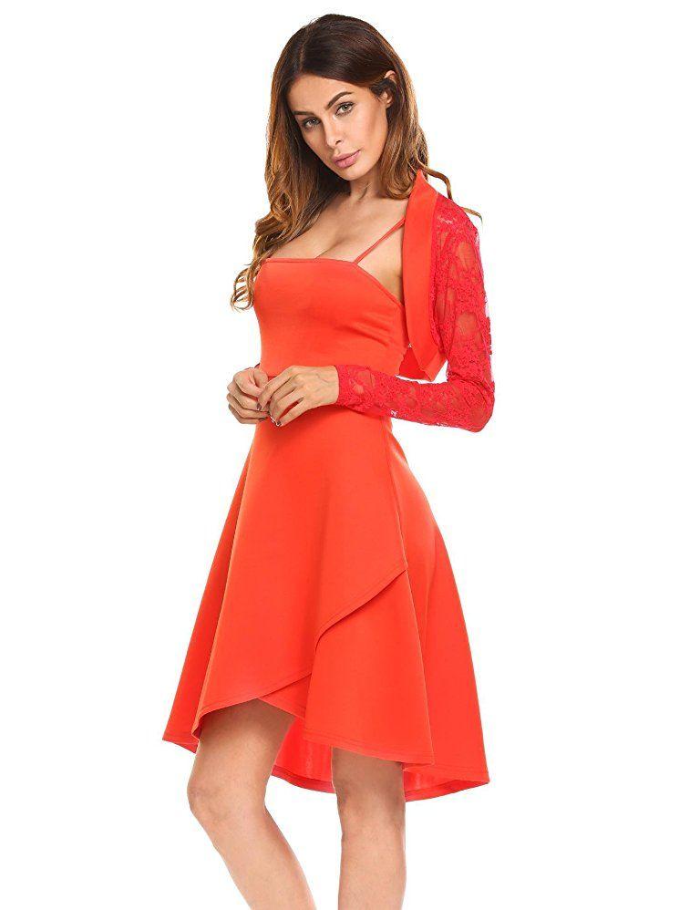 ACEVOG Damen Elegant Zweiteilig Spaghettiträger Kleid ...