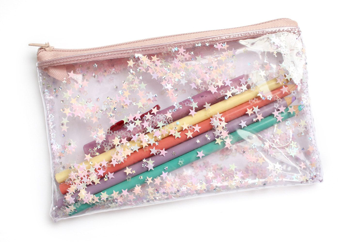 light pink Stars, Pencil case, Transparent wallet, Clear