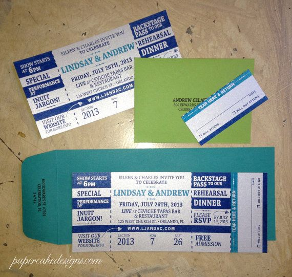 Concert Ticket Invitation with RSVP tear-off stub #wedding or - concert ticket invitations