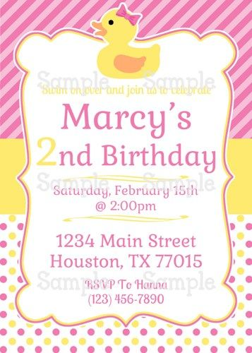 Printable Girly Pink Rubber Duckies Personalized Birthday Invitation - best of invitation for 1st birthday party free