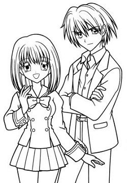 Manga Coloring Pages Boy And Girl Jpg 250 358 Boy And Girl Drawing Anime School Girl Coloring Pages For Girls