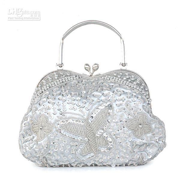 Stunning Silver Beaded Evening Prom Party Clutch Wedding Bridal Bridesmaid Handbag