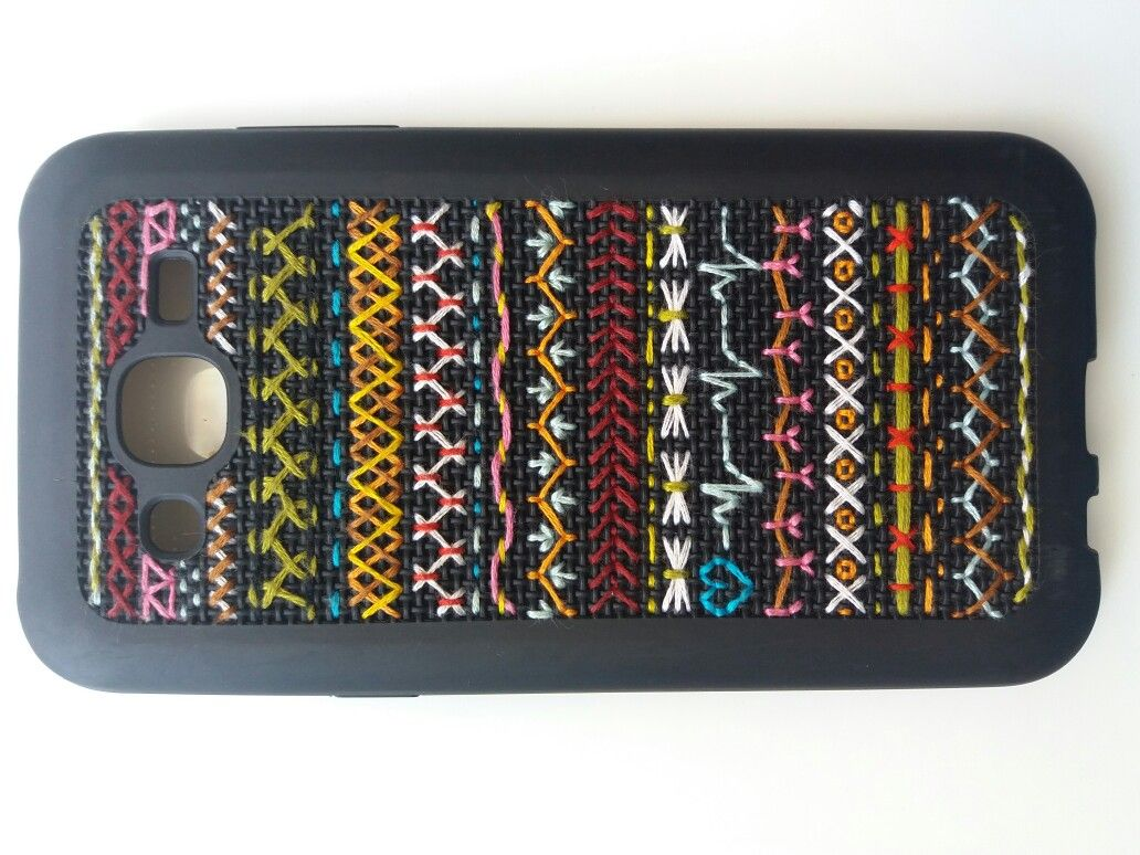 embroidery on my mobile cover with hippie touch♡ hardwork♡