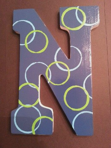 Painted Wooden Letter N Painting Wooden Letters Painted Wood