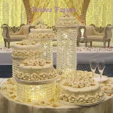Set Of 4 Acrylic Crystal Chandelier Cake Stand Asian Style By Forbes Favors White Light