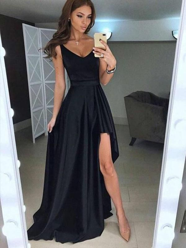 Simple Black V Neck Sexy High Low Long Evening Prom Dresses Bw0129