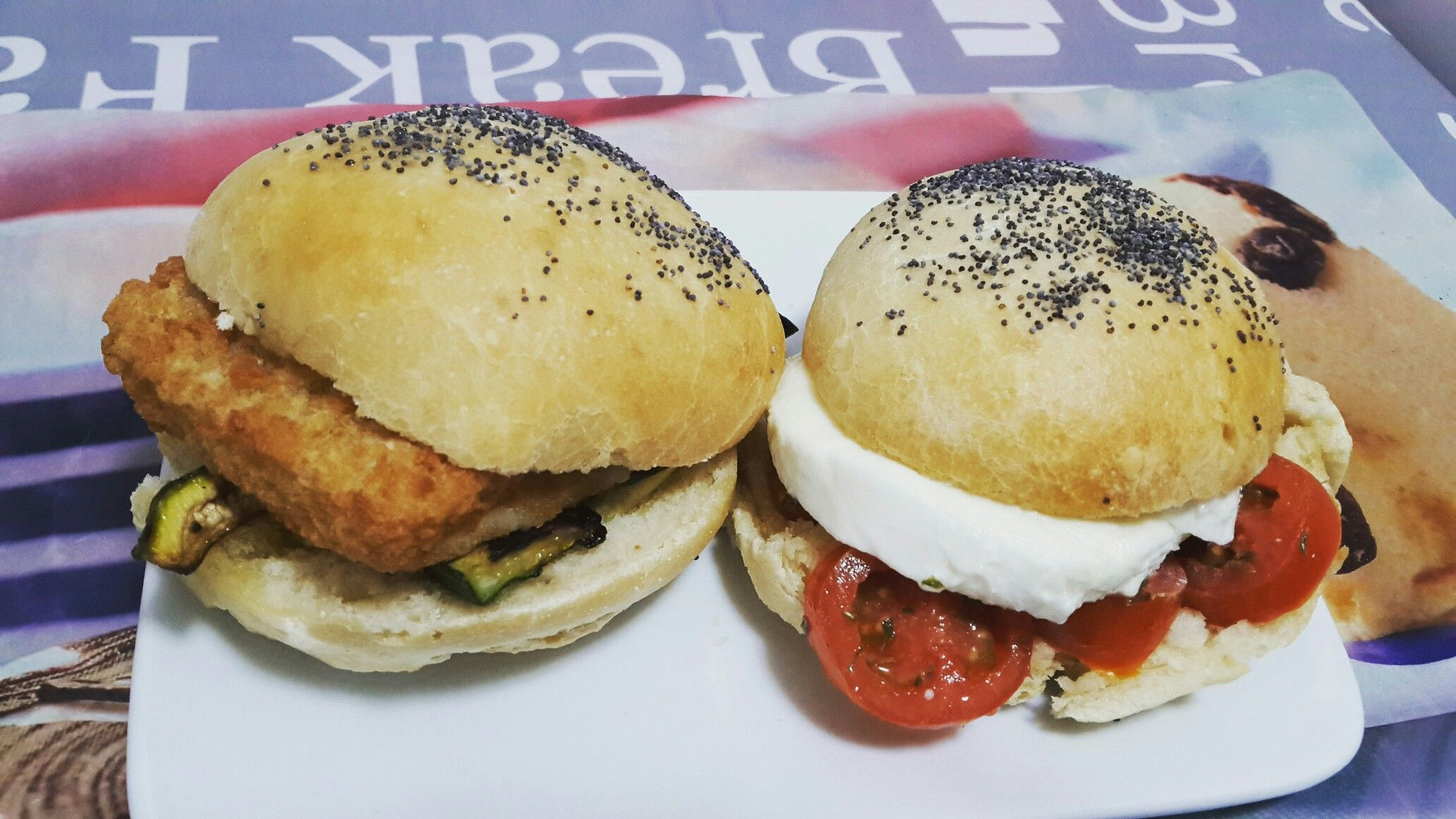 "Fishburger & "" Caprese burger """