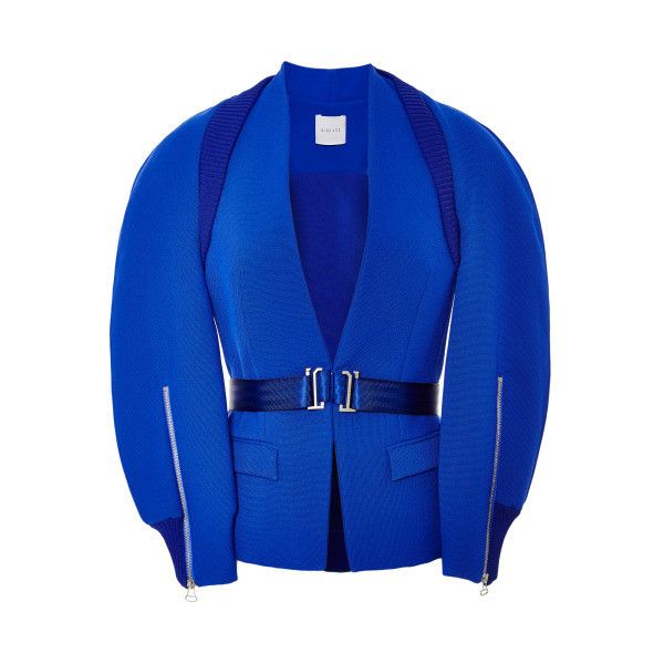 Dion Lee Inverted Cargo Jacket ($2,215) ❤ liked on Polyvore featuring outerwear, jackets, default blue, collarless jacket, cargo jacket, wrap jacket, blue jackets and dion lee