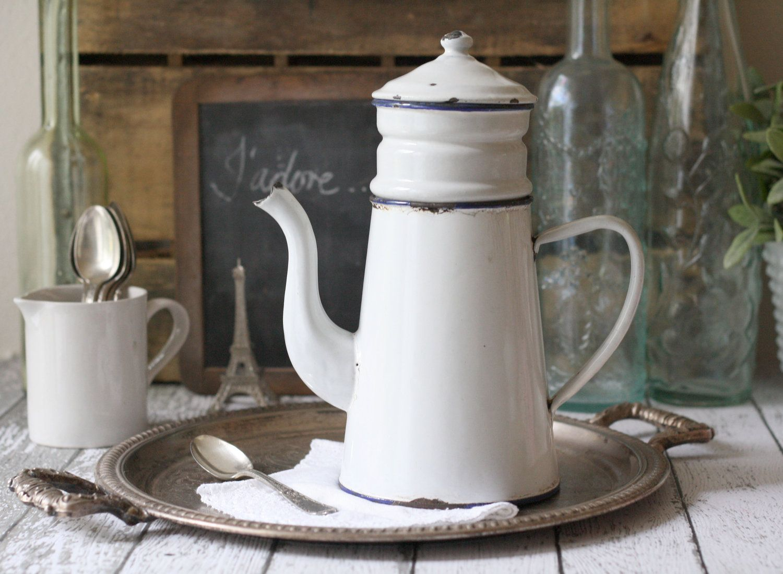 Vintage French Enamelware Coffeepot Biggin circa by graceandivy